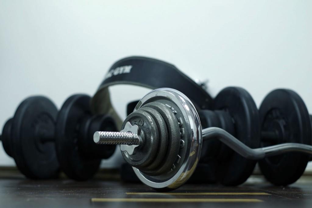 barbells and garage gym