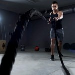 Battle ropes exercise in the garage gym
