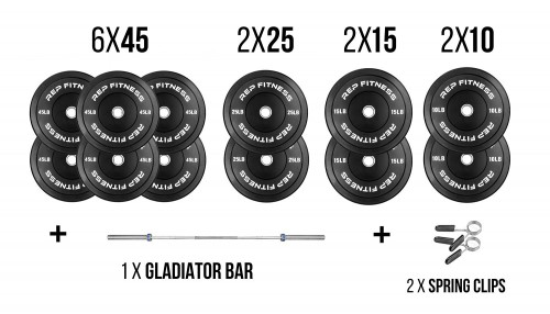 Rep Fitness Bar and Bumper Plate Package