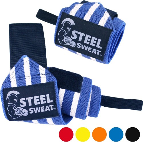 Steel Sweat Wrist Wraps 18 inches for Weight Lifting and Crossfit