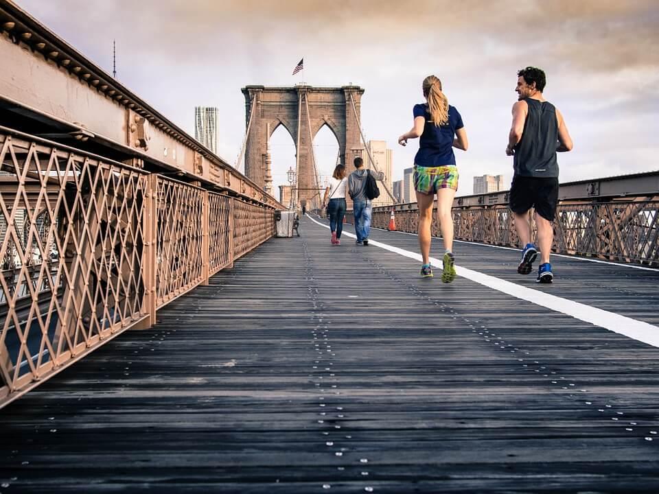 jogging on bridge