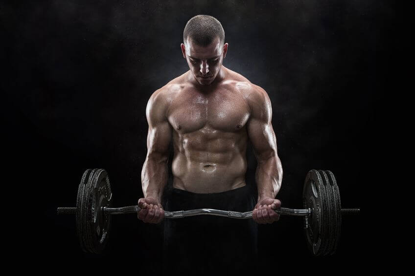 man doing workout with curl bar
