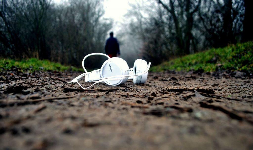 headphones on the ground