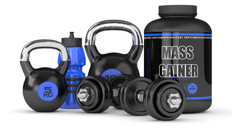 mass gainer with adjustable dumbbells and kettlebells