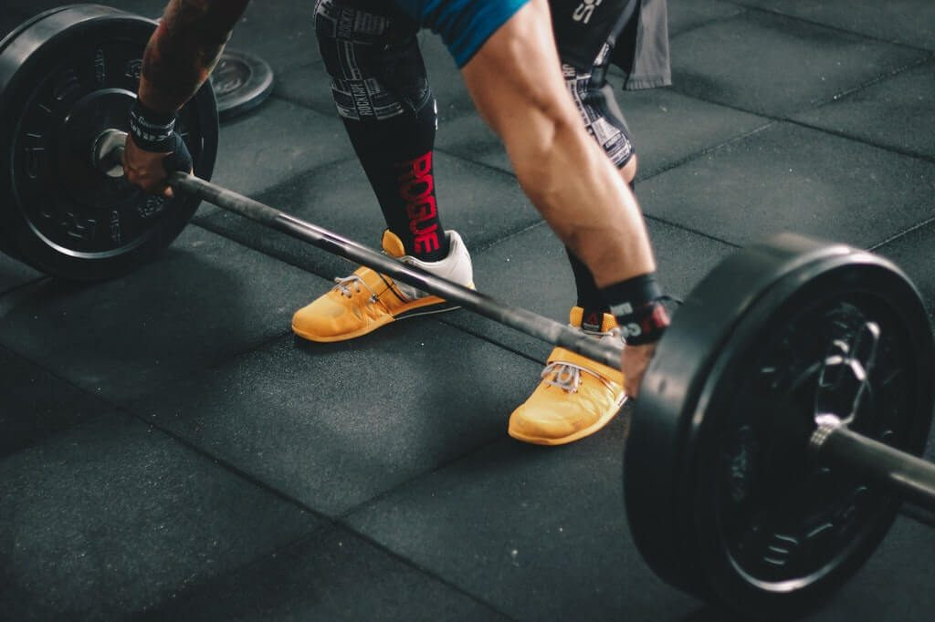 Weightlifter wearing lifting shoes