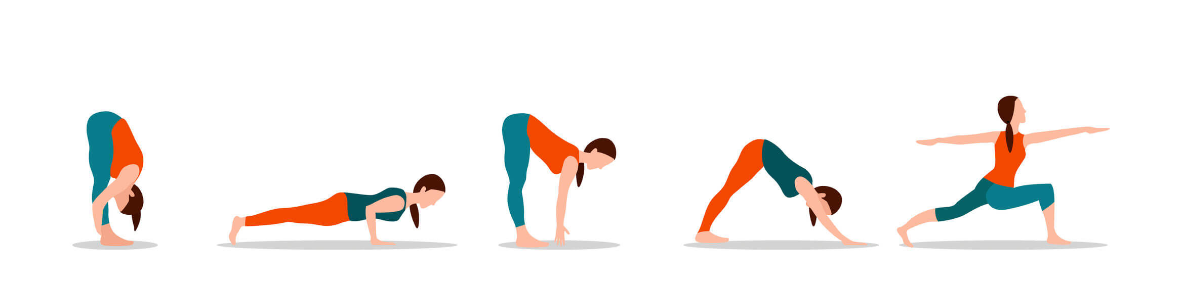 five different yoga poses