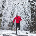 runner at cold snowy weather