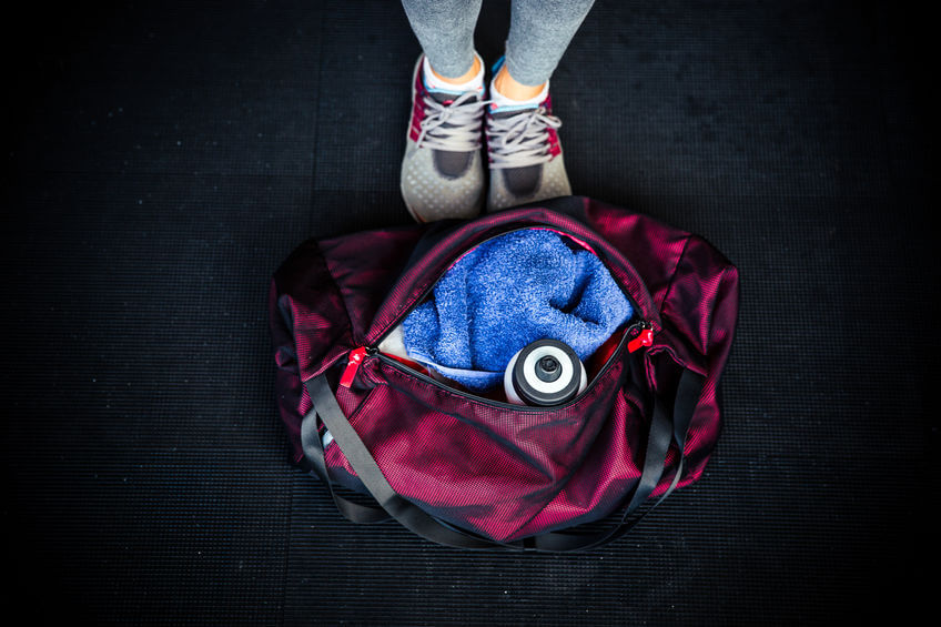 closeup image of women's fitness bag