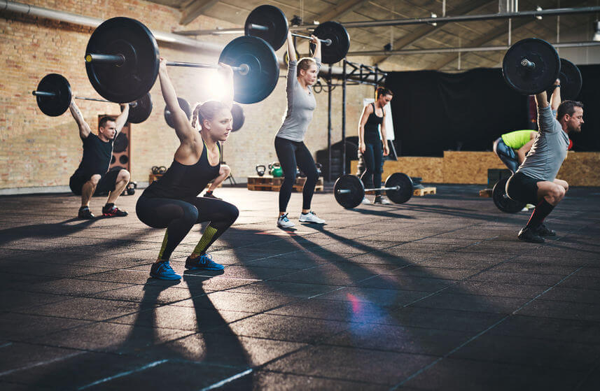 group of athletes in CrossFit gym