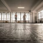 two people start a running in CrossFit gym