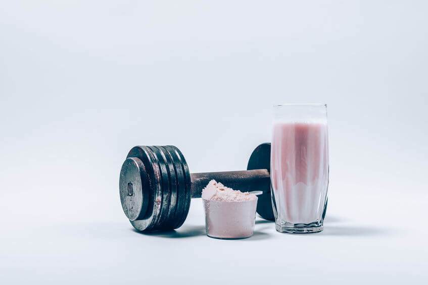 Whey protein shake in a glass