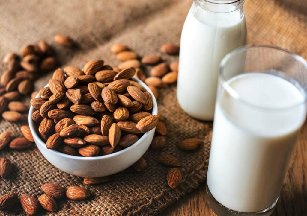 protein rich food - nuts and milk