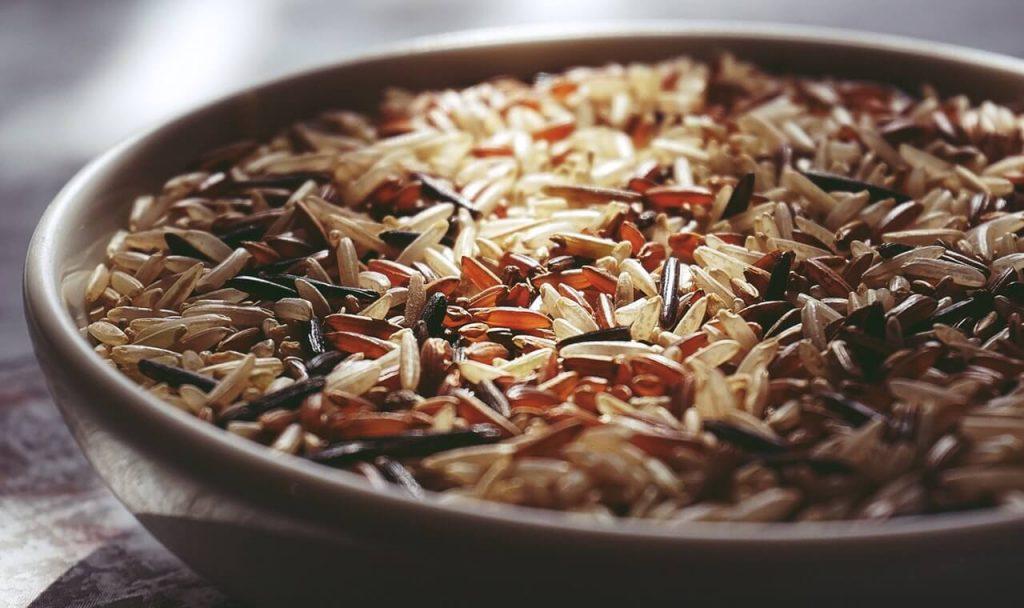 rice in ceramic bowl