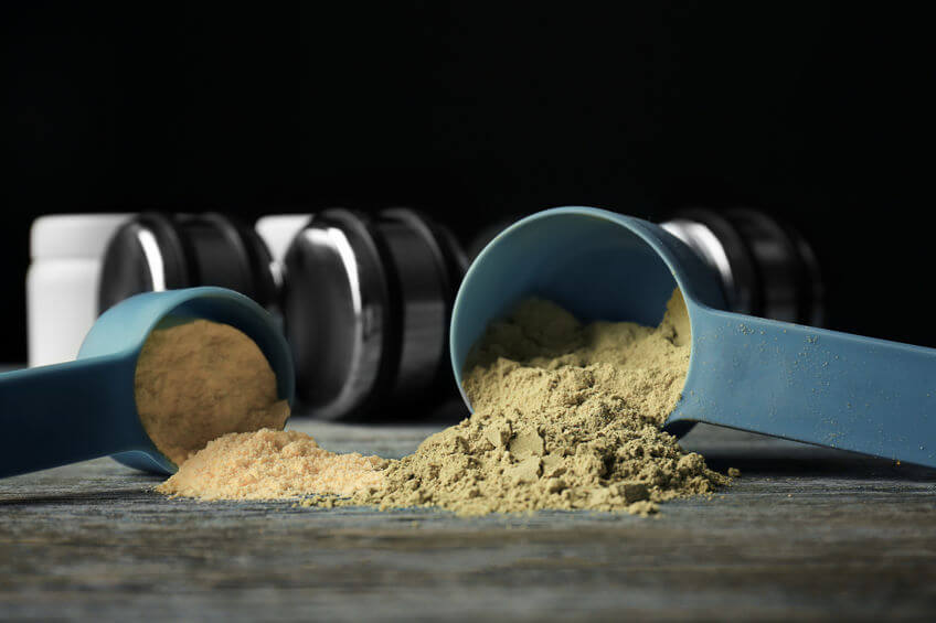 scoops of hemp protein powder