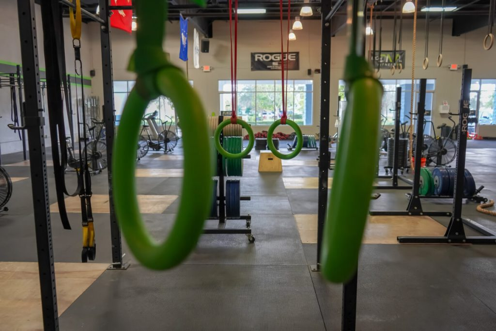 crossfit garage gym with gymnastics rings