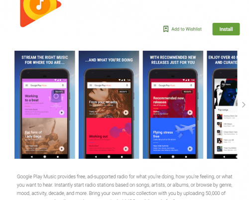 Screenshot Google Play Music