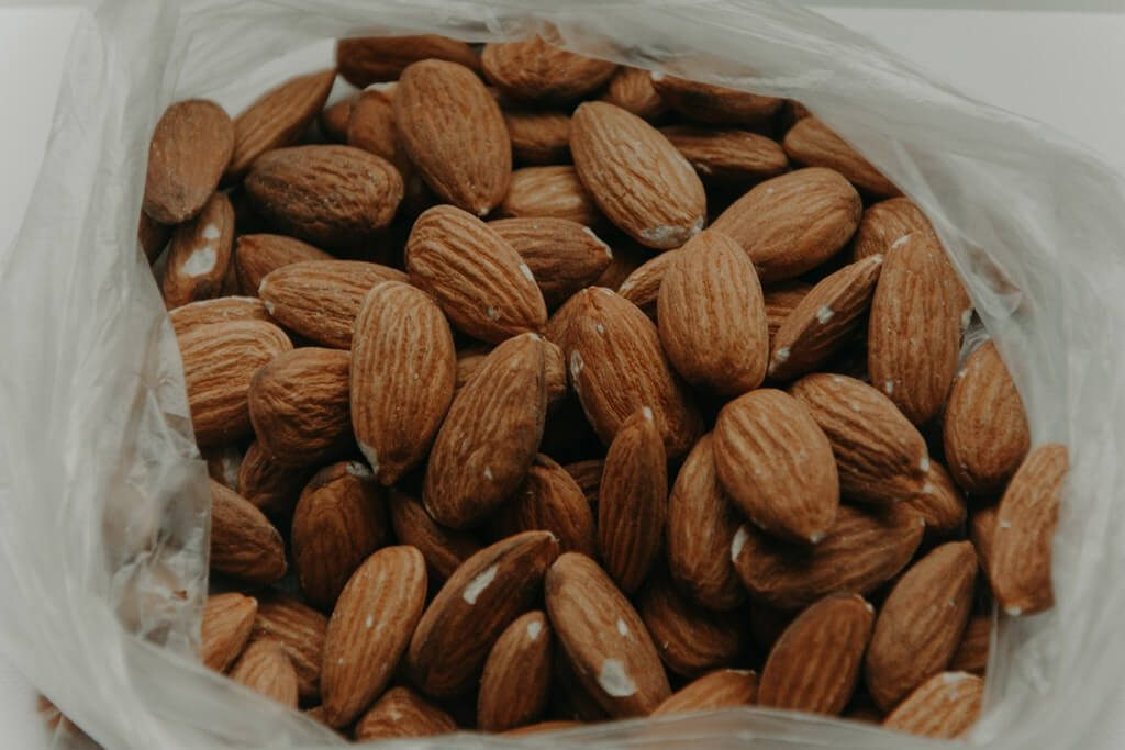 close up almond nuts