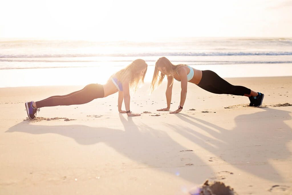two women working out at the morning