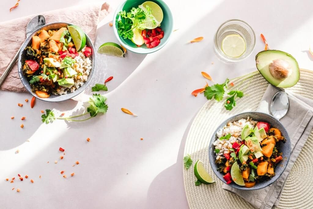 vegetable salad in bowls healthy eating concept