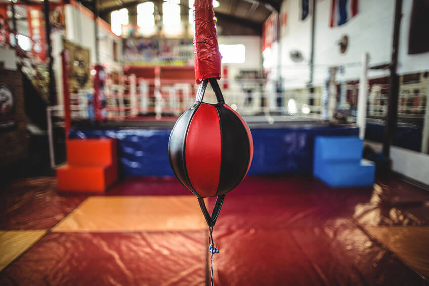 double end bag hanging at the boxing gym