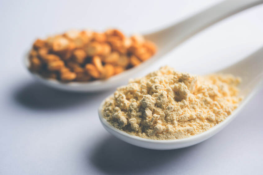 yellow pea protein powder in scoop